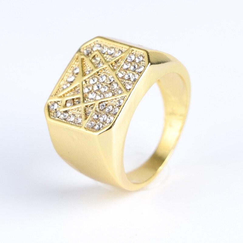 Anillos de joyería de moda, anillo de diseño misterioso dorado brillante para hombres, anillo para hombres