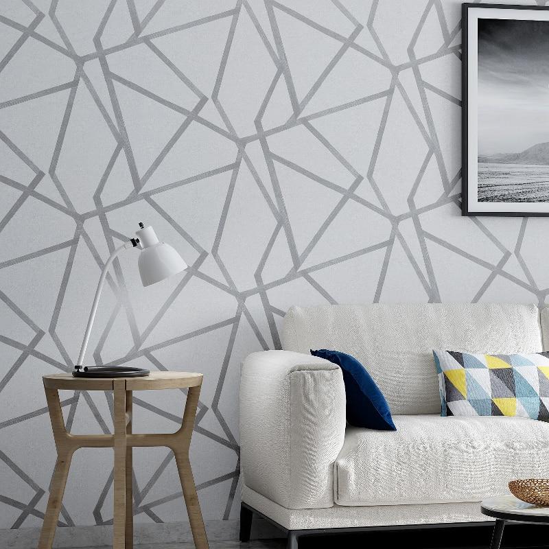 ورق حائط هندسي رمادي لغرفة المعيشة وغرفة النوم ، ورق حائط حديث بنمط رمادي وأبيض ، لفة لتزيين المنزل