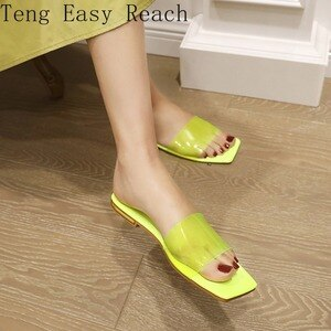 Concise Clear PVC Upper Square Toe Women Slippers Summer Sandals Big Size 43 Slides Shoes Women Home Outside Casual Shoes