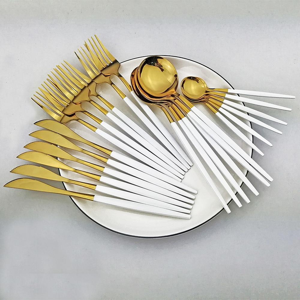 24pcs White Gold Dinnerware Set Stainless Steel Knife Fork Spoon Cutlery Set Kitchen Tableware Set Flatware Set Wholesale