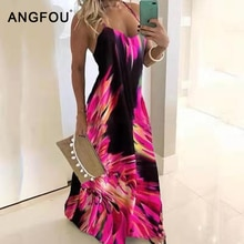 Summer Oversized Dress Sleeveless Vintage Floral Print Boho Dress Women Sexy Beach Maxi Casual Sling