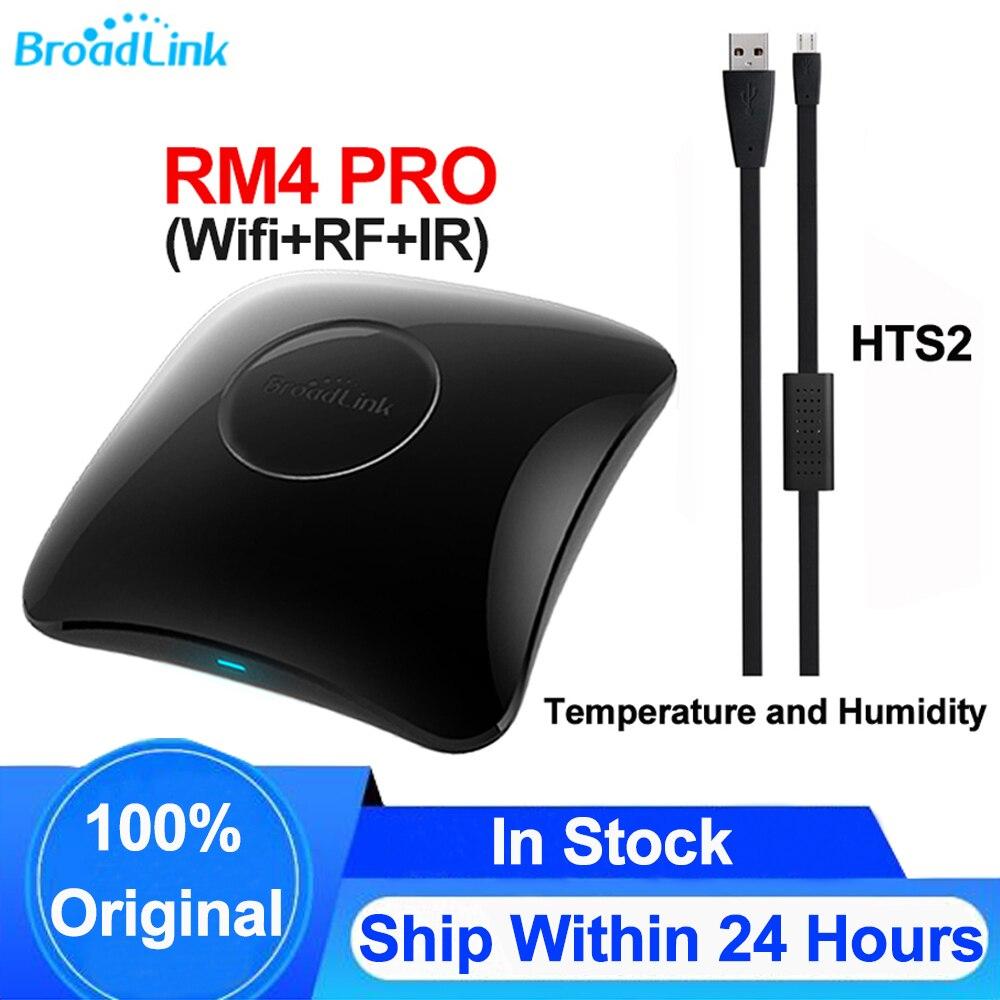 جهاز Broadlink RM4 PRO للتحكم عن بعد العالمي, Broadlink RM4 PRO Wifi IR RF ، للمنزل الذكي ، مستشعر درجة الحرارة والرطوبة HTS2 ، يعمل مع Alexa