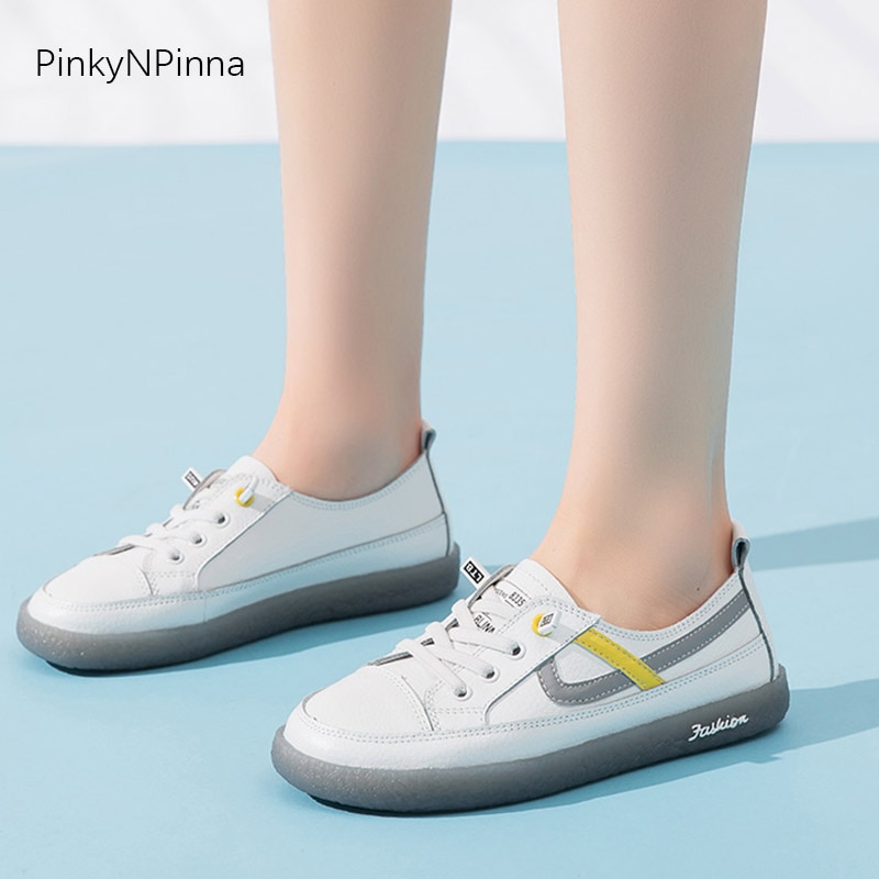 hot sale summer women cowhide soft leather flat outdoor young girls casual shoes white street sneakers commuter preppy style