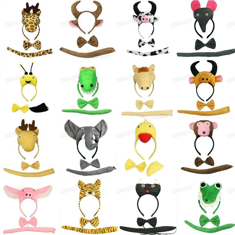 Diadema con orejas de animales, Diadema con lazo de cola, utilería de dibujos animados, disfraz de Anime para Cosplay, fiesta de cumpleaños, boda, regalo para Baby Shower