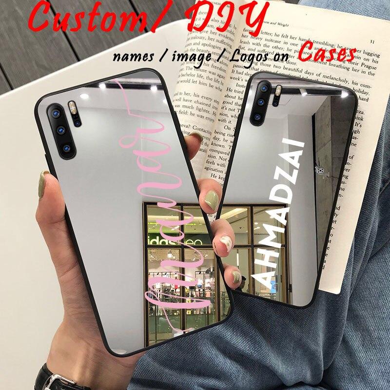 Чехол для телефона с логотипом имени на заказ для Huawei P20 Pro P30 Lite Case Mate 20 Lite p40 nova 5 Роскошный полностью зеркальный мягкий персонализированный Ч...