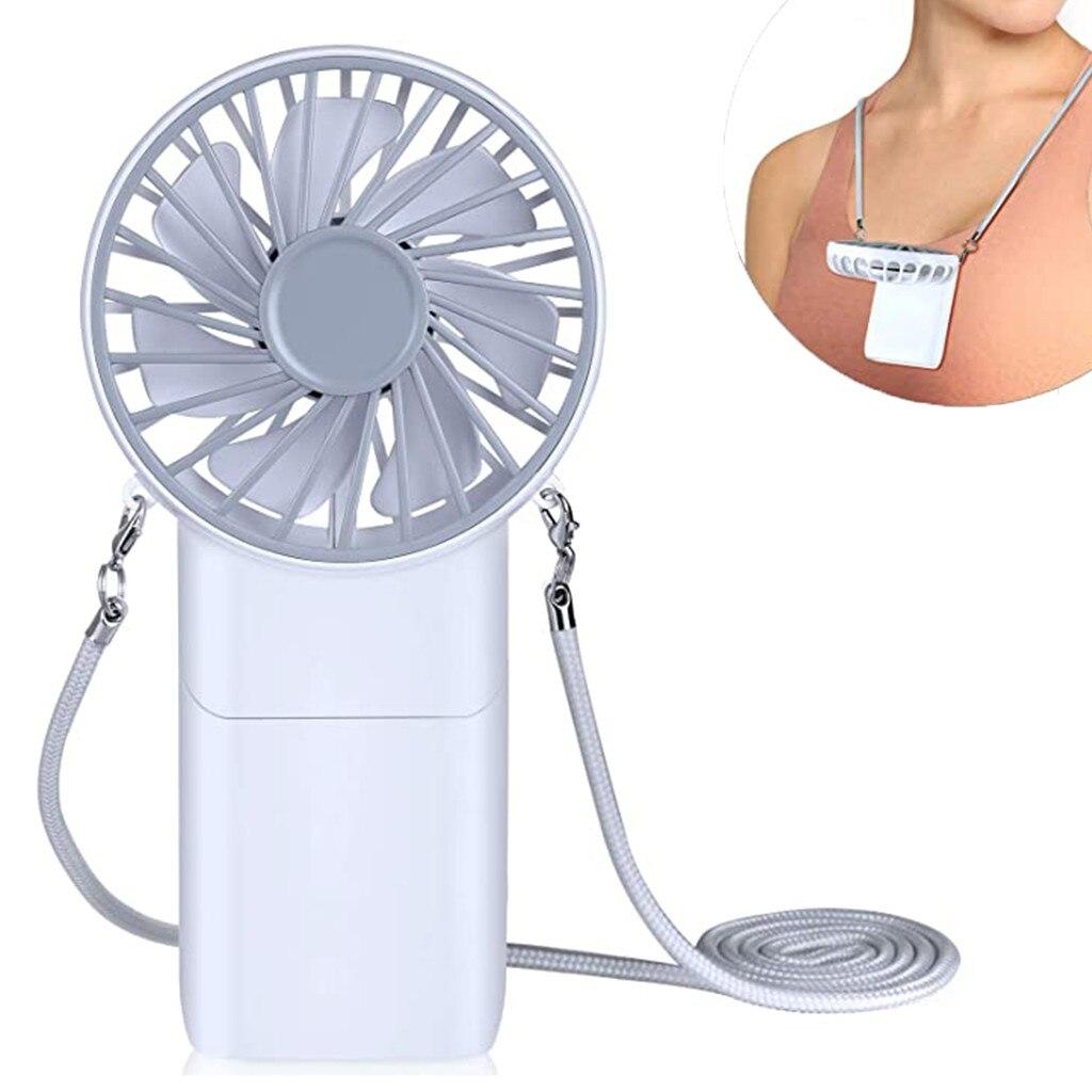 2020 nueva luz LED USB recargable ventilador banda para el cuello perezoso estilo colgante ventilador de refrigeración Dual para estudiante Hogar Escuela portátil