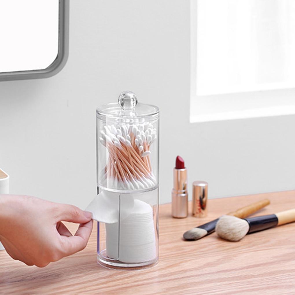 Transparent Organizer Cotton Swab Storage Box Q-tip Acrylic Cotton Pad Storage Box Cosmetic Plastic Case Bathroom Bedroom