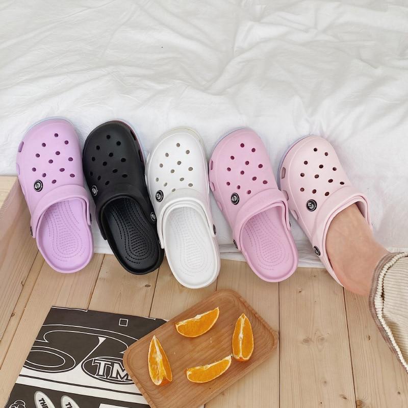Sandalias de moda zuecos para mujer, sandalias de playa con fondo suave, sandalias de mujer con zuecos, cómodas sandalias transpirables al tobillo de PVC