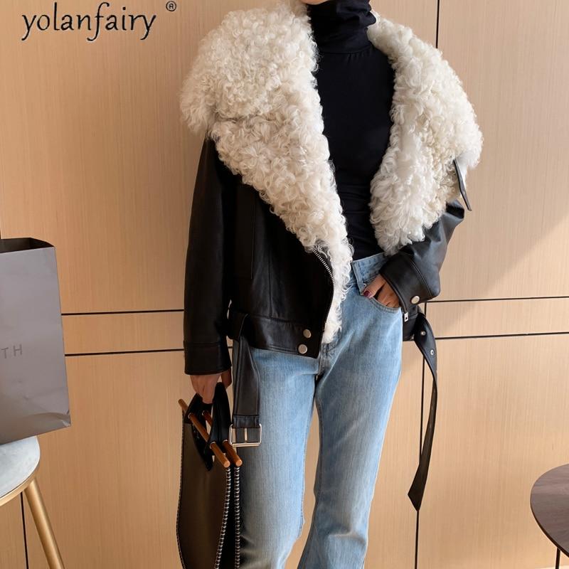 100% الخرفان معطف الإناث الشتاء حقيقية السترات الجلدية الطبيعي الأغنام الفراء طوق 90% الأبيض بطة أسفل سترة دافئة امرأة الملابس