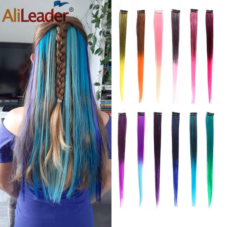AliLeader 50CM Long Straight 2 inch width 1 Clip In One Piece Synthetic Fake Hair Pieces Ombre Two Tone Color