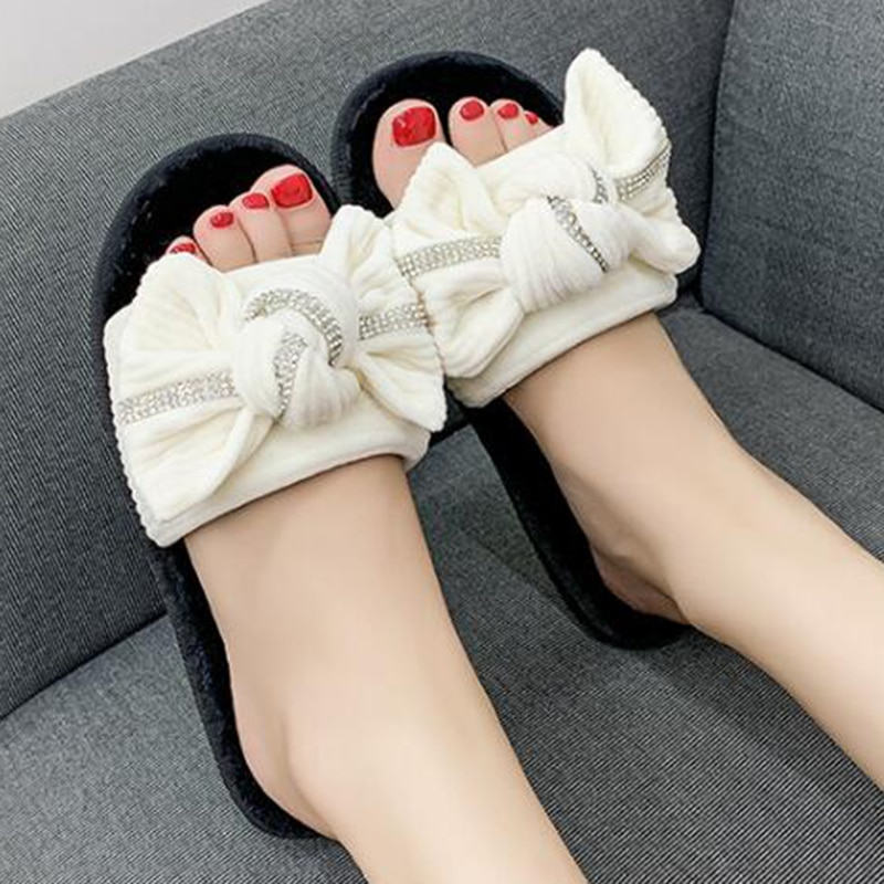 Frauen Pelzigen Hausschuhe Schuhe Frau Warme Winter Nette Bogen-knoten Cord Weibliche Weiche Innen Frühling Slipper mit Pelz Flip-flops s595