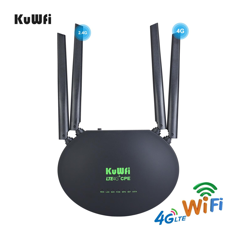 KuWfi 4G LTE راوتر 300Mbps اللاسلكية CPE 3G/4G LTE واي فاي جهاز توجيه ببطاقة Sim فتحة Wan/Lan ميناء 4 هوائيات خارجية