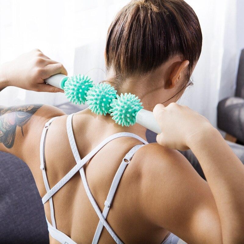 Rolo de Massagem Varas com 3 Ginásio Muscular Yoga Vara Corpo Relaxar Ferramenta Pontos Spiky Bola Bloco Fitness