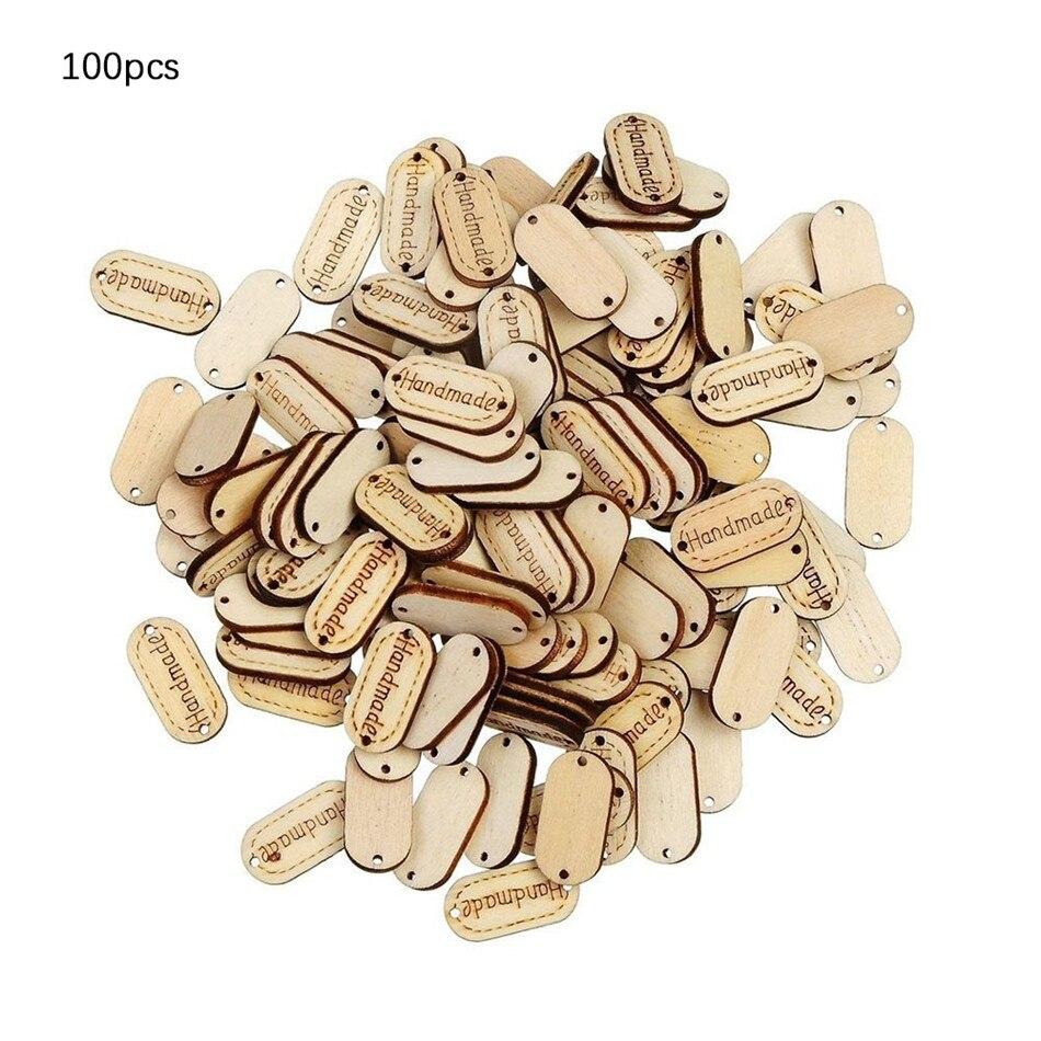 100 Uds. Etiqueta hecha a mano Color madera Natural adornos en forma de madera adornos 2 agujeros botón coser etiquetas de madera nuevo