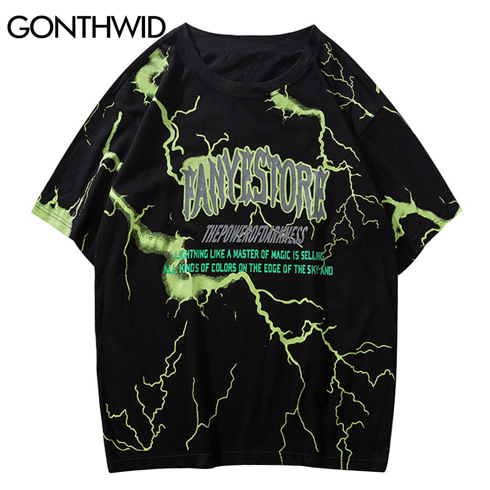 aliexpress.com - GONTHWID Tshirts Streetwear Hip Hop Lightning Print Punk Rock Gothic Tees Shirts Harajuku Fashion Casual Short Sleeve Loose Tops
