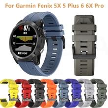 22 26mm Sport Silicone Watchband Strap for Garmin Fenix 5X 5 Plus 6X 6 Pro 935 945 3 3HR Steel buckl