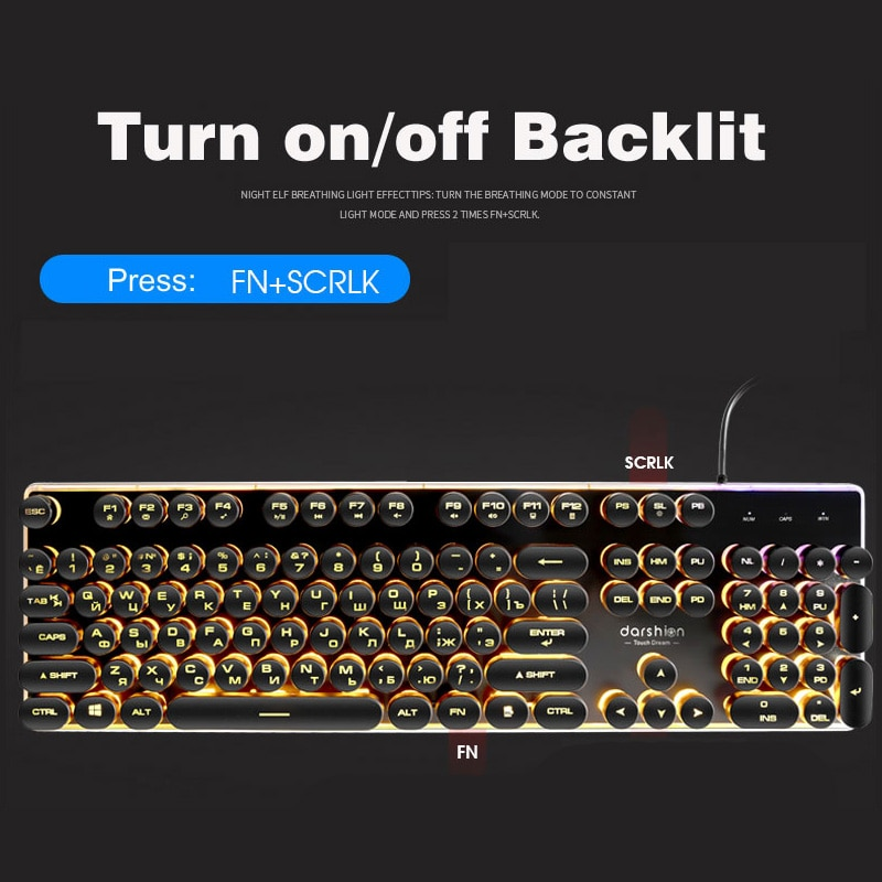 Round russian keyboard game round shiny backlit usb keycap wired backlit metal panel water proof border enlarge
