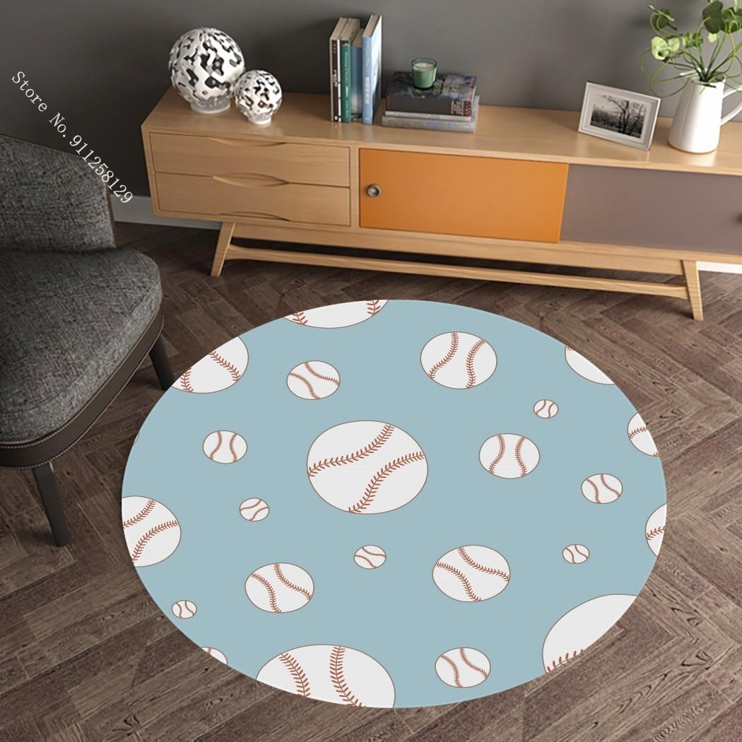 Football Round Carpet 3D Print Funny Sport Carpets For Living Room Floor Rug Bedroom Home Textile Decor