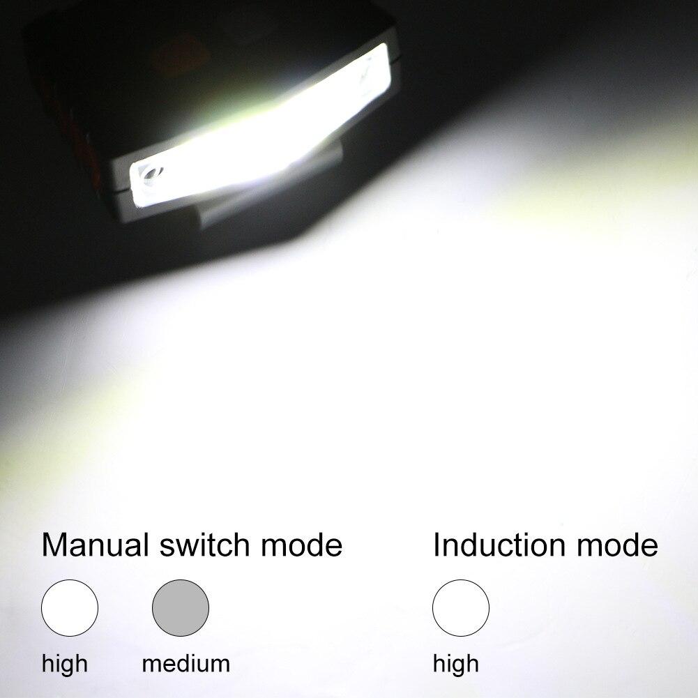 Ahorro de Energía faro duradera linterna de pinza para pesca sombrero de carga USB Touch Clip con Sensor en la cabeza de la antorcha de luz LED COB