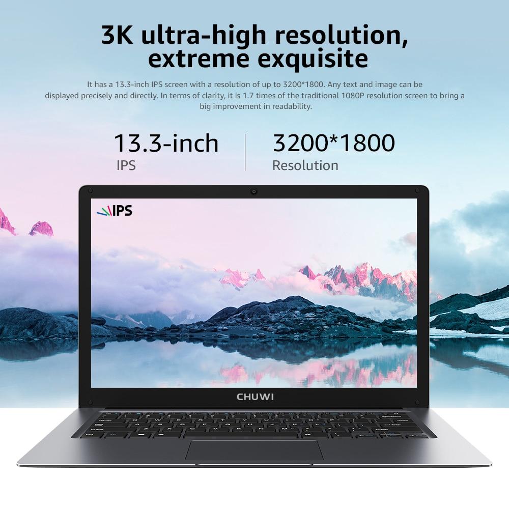 CHUWI HeroBook Pro+ 13.3 Inch IPS Screen Intel Celeron Quad Core Windows 10 OS 8GB RAM 128GB ROM Slim Laptop 2.4/5G Wifi BT5.0 6