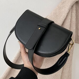 Leather Soild Color Design Pu Women's Shoulder Bags 2021 Winter Women's Crossbody Saddle Bags and Purses Luxury Cross Body Bags
