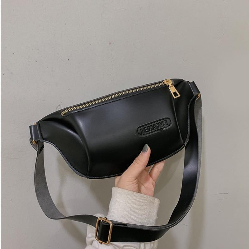 Waist Pack Women PU Leather Fashion Fanny Pack Solid Color Design Ladies Zipper Chest Bag Girl Travel Banana Belt Bag Mini Purse
