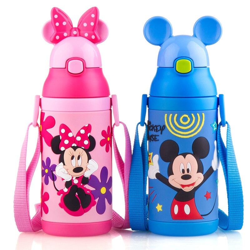 Disney 304 de aço inoxidável bebê criança copo térmico isolado canecas garrafa térmica com palha e lidar com água térmica tem alça