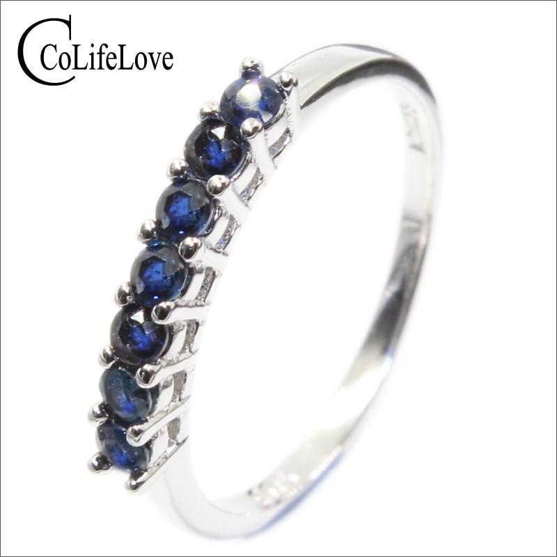 خاتم من الياقوت الأزرق الداكن الطبيعي 100% للنساء ، 7 قطعة ، 2.5 مللي متر ، درجة SI ، الياقوت ، الفضة 925 ، الياقوت ، هدية رومانسية