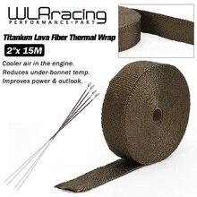 WLR RACING-15 M Premium échappement bandeau thermique collecteur enveloppe titane lave Fiber thermique bandeau thermique + 6 pièces cravates WLR1915T