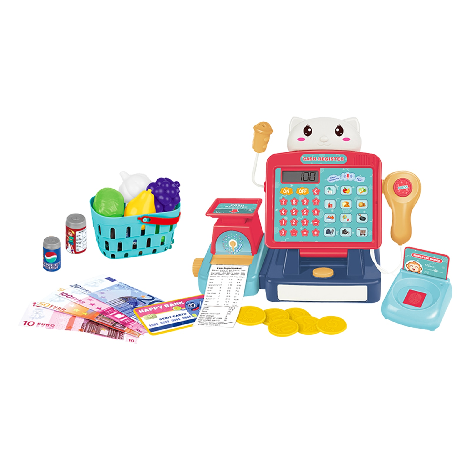 25Pcs/set Mini Simulated Supermarket Electronic Cash Register Toys Set Calculator Scanner Counter Cashier Role Play Pretend Toys connect the pos machine before the use of cash used in supermarket restaurant cashier ek330