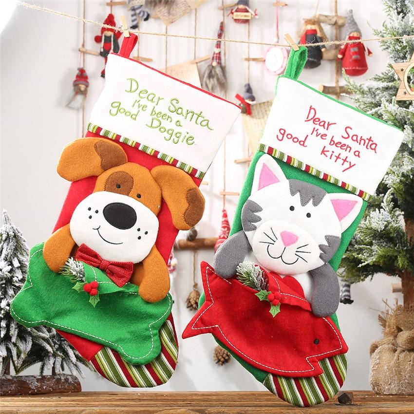 Ano novo decoração sacos de presente de natal do cão de estimação gato meia meias árvore de natal pendurado pingente de brinquedo boneca presentes saco de doces de maçã