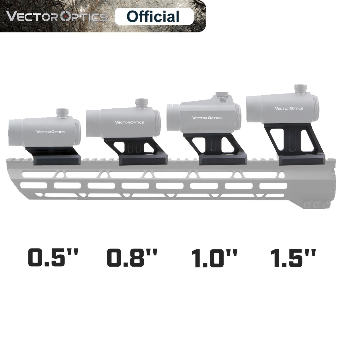 arisaka offset optic mount for red dot sights aimpoint micro t1 t2 h1 h2 trijicon rmr sro sig romeo 5 holosun hs403 hs503 hs515 Vector Optics Red Dot Riser Rail Mount 0.5 0.83 1.0 1.5 Cantilever Picatinny Weaver 21m Fit Maverick & Aimpoint Micro T1 T2
