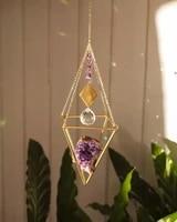 Capteur de soleil avec cristal amethyste  Mini capteur de soleil arc-en-ciel  pour la decoration de la maison  pour fenetre