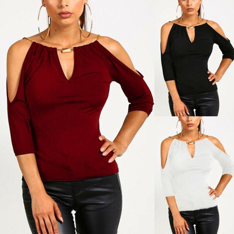 Camisetas de moda de verano 2020 para mujer Camisetas Casual cuello gargantilla Color sólido camisetas sueltas hombro frío camisetas de manga corta