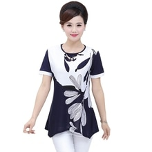 XL-4XL Plus Größe Position Blume Druck Frauen Shirts Mode Mutter Kleidung Kurzarm Tops Beiläufige Dünne Pullover