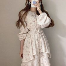Korean Chic Early Spring New Products round Neck Cute Youth-Looking Fashionable Floral Double Layer