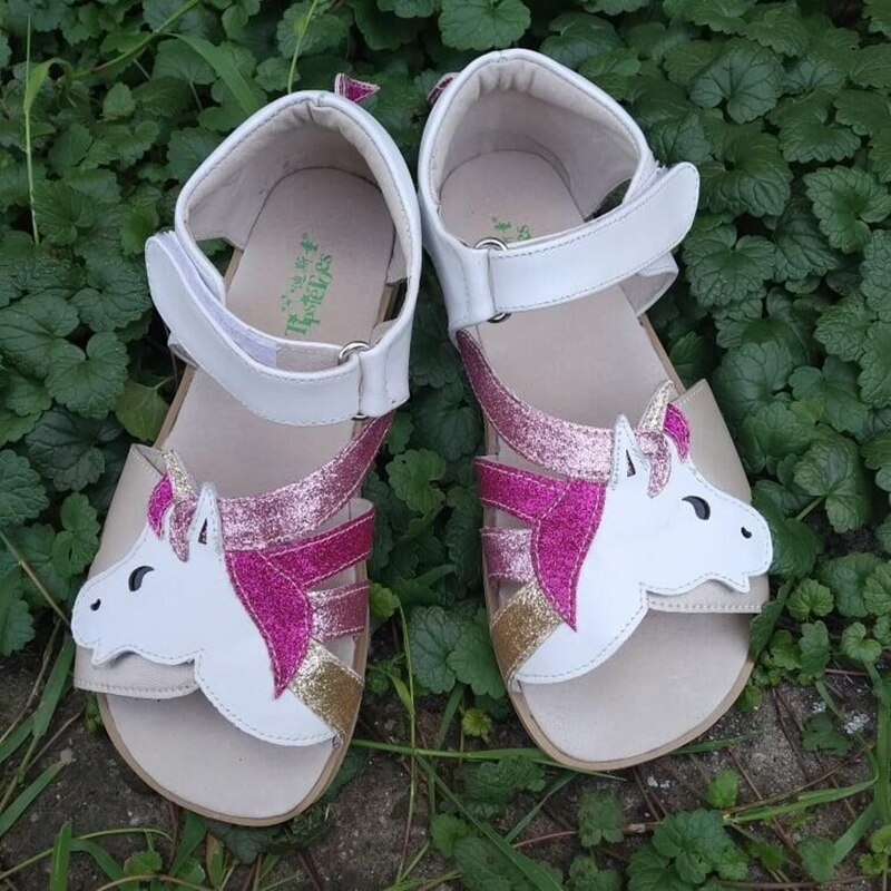 TipsieToes High Quality genuine leather Barefoot sandal mary janes shoes for kids children adult zig zig sole
