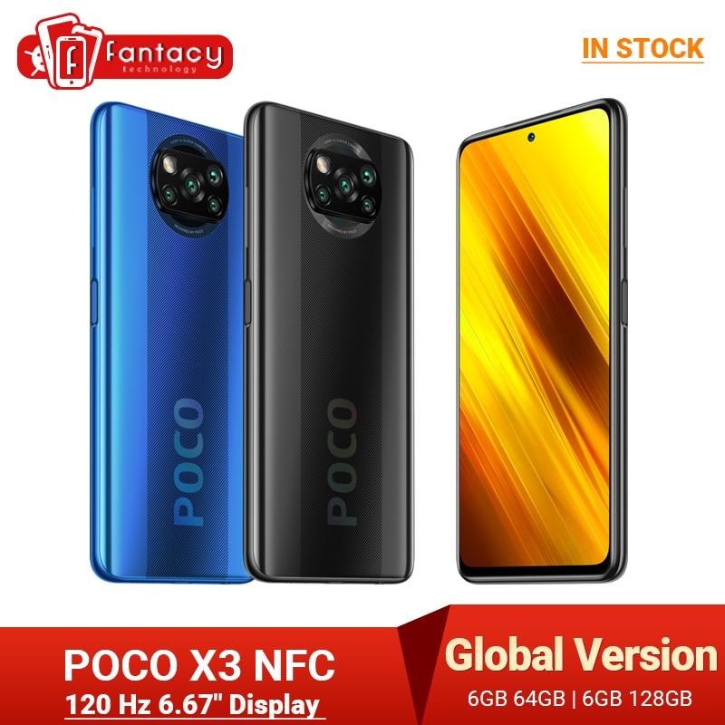 """الإصدار العالمي للهاتف المحمول POCO X3 NFC 6GB سنابدراجون 732G 64MP كاميرا رباعية هاتف ذكي 6.67 """"120Hz 5160mAh"""