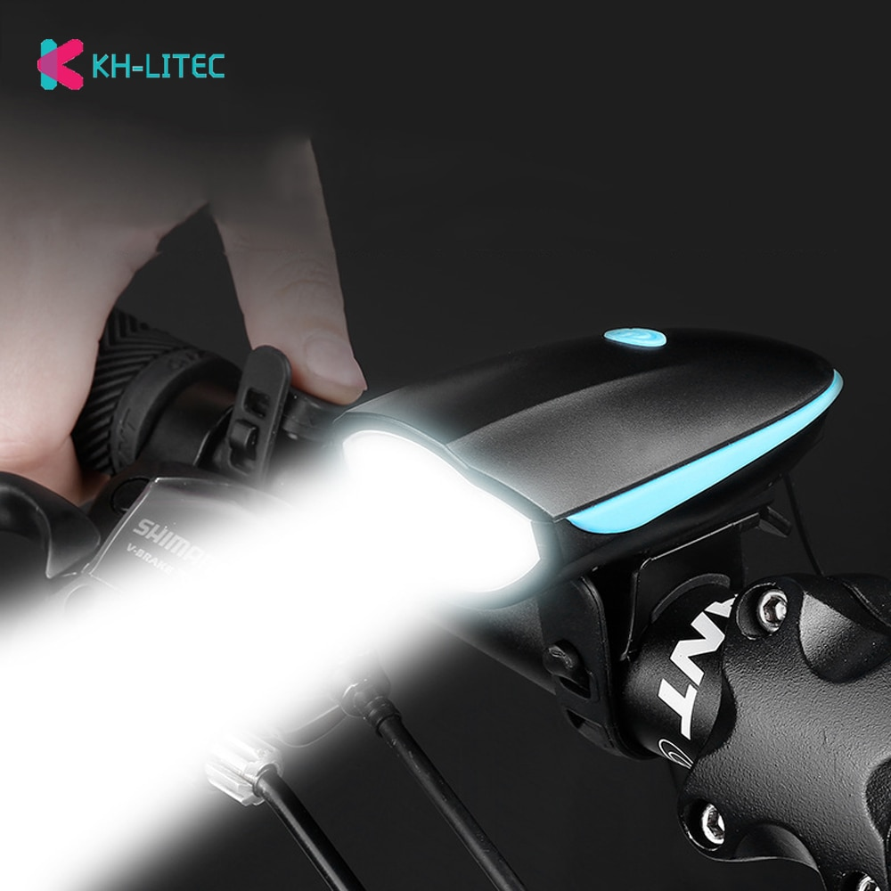 Khlitec usb recarregável bicicleta luz do farol lâmpada led mtb bycicle luz 140 db chifre sino da bicicleta à prova dwaterproof água farol lanterna
