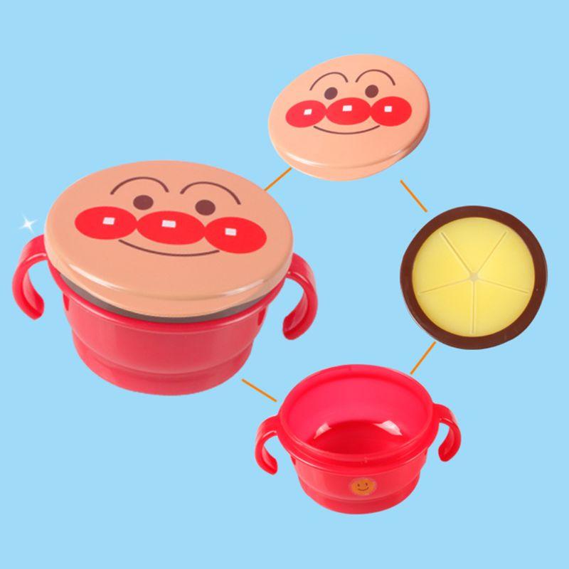 Baby Spill Proof Kekse Snack Tasse Cartoon Infant Doppel Griff Fütterung Schüssel NEUE