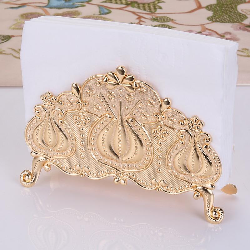 IMUWEN Metal Napkin Holder Serviette Holder Resistant Paper Tissue Rack Luxury Home Party Dining Table Decor