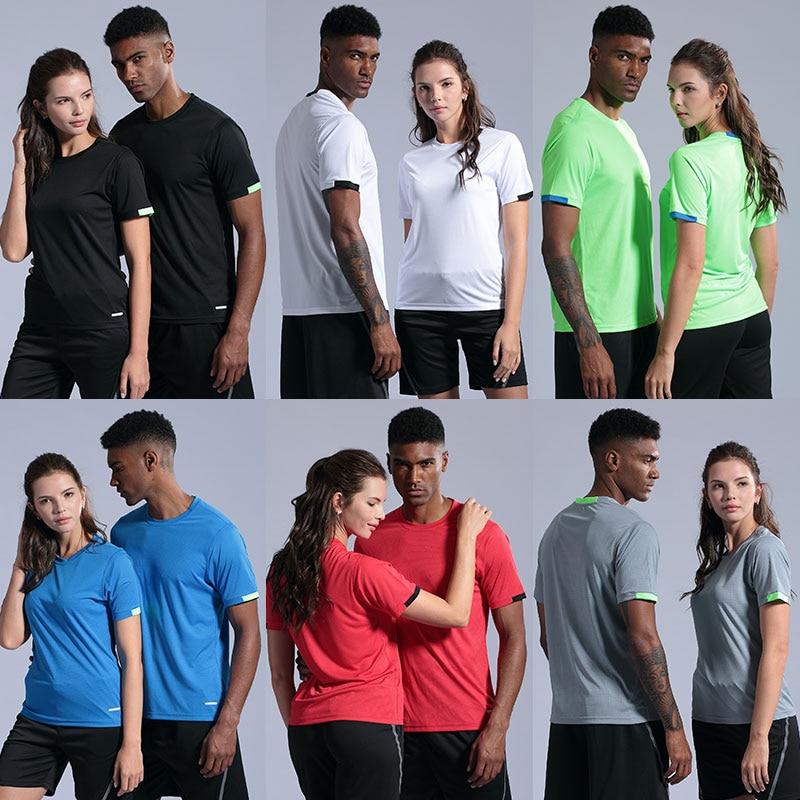 Quick Dry Gym Shirt Men Summer Women Sportswear Running T-shirts Sport elastic Tops Jogging Tops Loose Training Short Sleeves