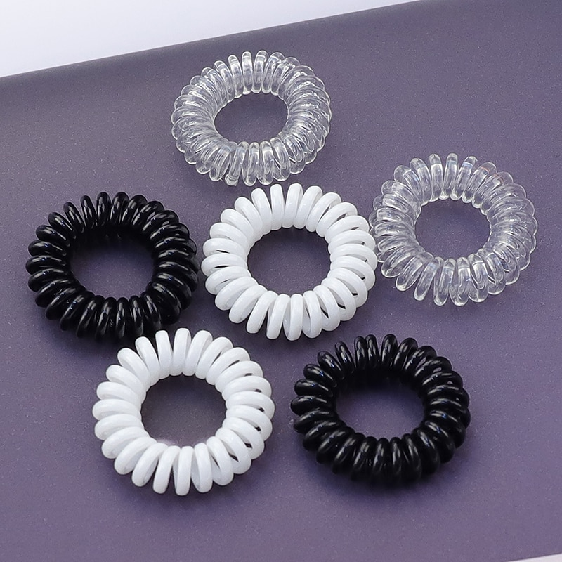 Lot 5Pcs Size 3.5CM Black / Transparent /White Telephone Line Gum Elastic Band For Girl Accessories Springs Clear Hair Rope