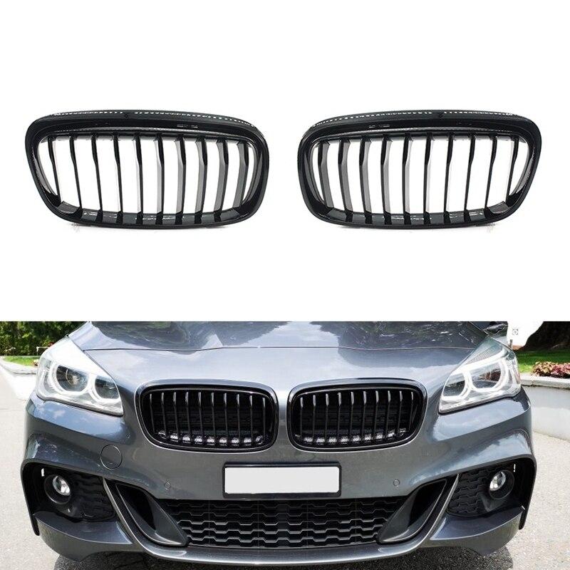 Rejilla frontal parrillas paragolpes para BMW F45 F46 Serie 2 Single Line GT 218I 220I 2015-2017 (negro brillante)