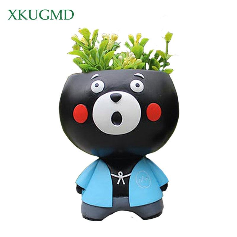 Panda de dibujos animados maceta de resina pintada personaje animal adornos para manualidades jardín creativo maceta mercancías contenedor de almacenamiento