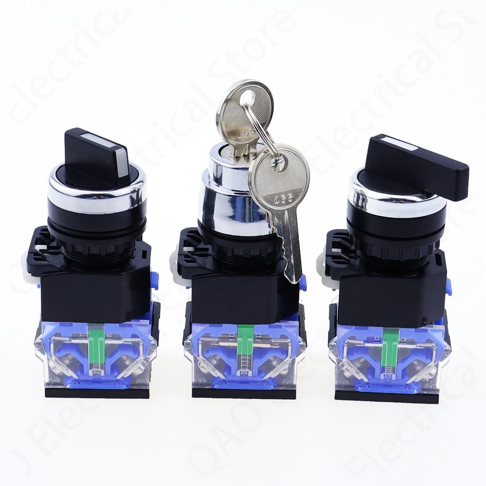 New patternLA38 2 position 3 1NO /1NC series High quality Knob switch Key Silver dot