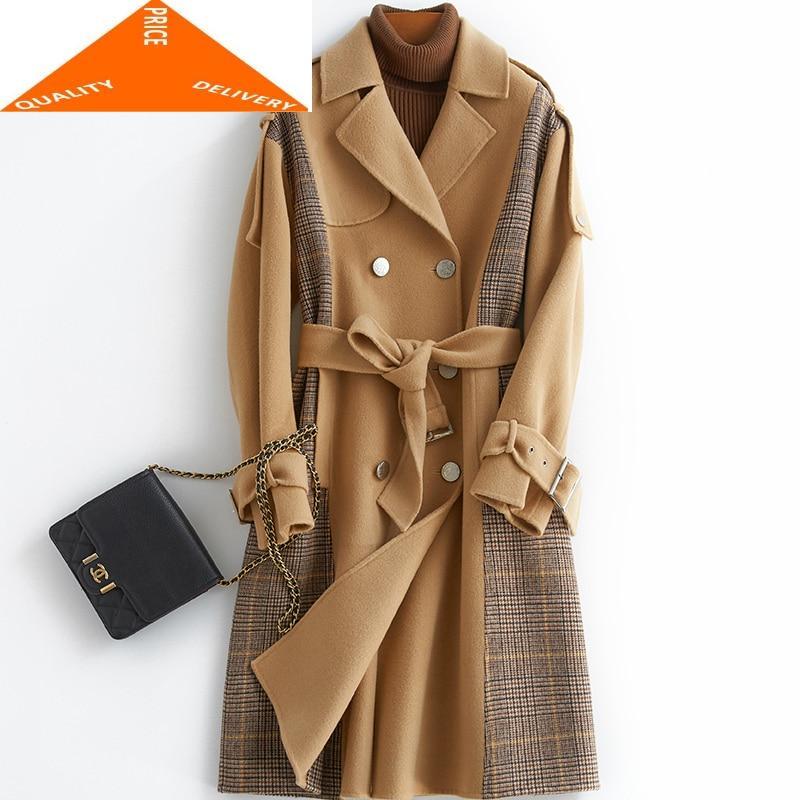 100% lana Abrigo elegante de Mujer de invierno las mujeres Abrigo Mujer...