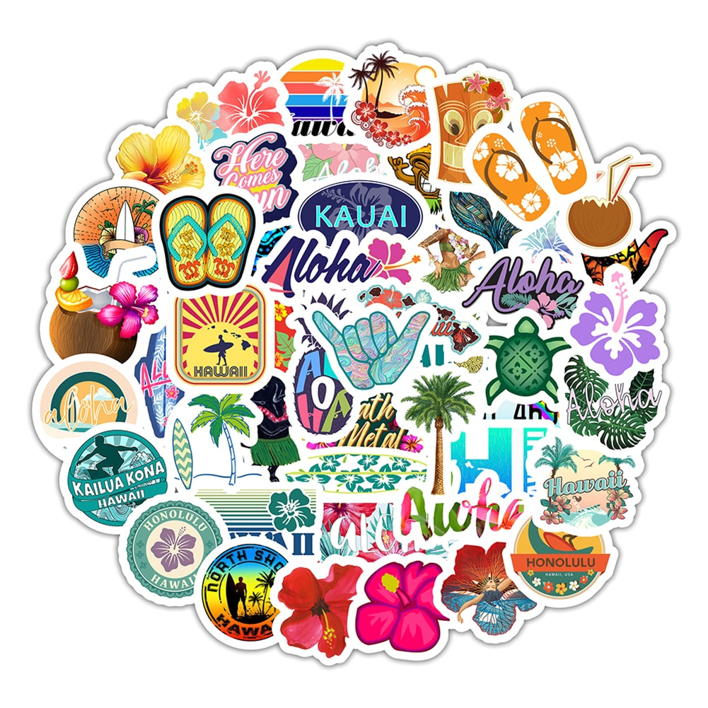 50pcs Hawaii Hawaii Tropical Beach Summer Hibiscus Removable Graffiti Stickers Car Exterior Accessories Stickers