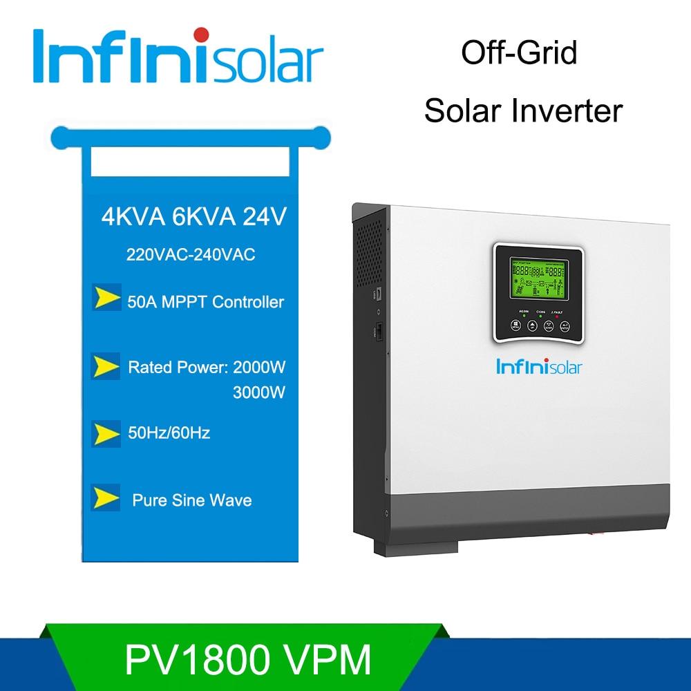 نقية شرط موجة عالية عاكس ترددات الضوء المدمج في MPPT الشمسية جهاز التحكم في الشحن 4000VA 6000VA 2000 واط 3000 واط 24 فولت إلى 220 فولت