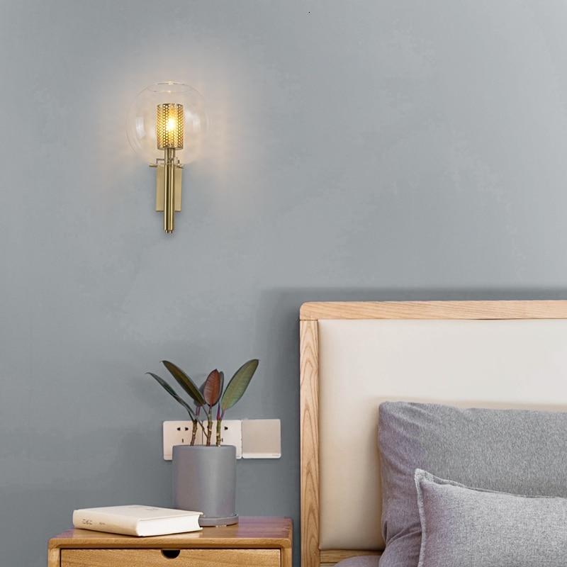 Lámpara de pared de diseño del norte de Europa moderna recámara concisa modelo de mesita de noche entre Villa de Hotel lámpara de pared de cobre completo Luz de tocador